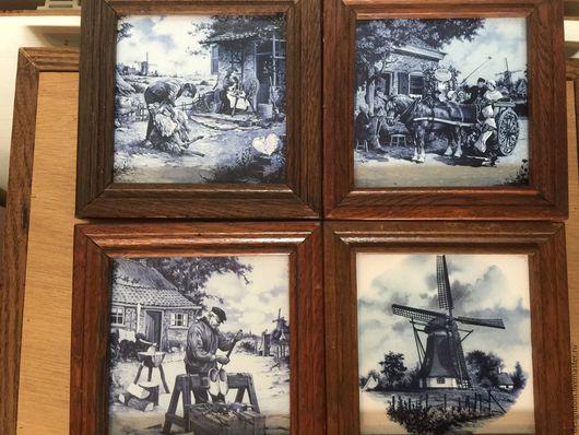 Винтажные предметы интерьера. Ярмарка Мастеров - ручная работа. Купить Голландия керамическое панно артплитка. Handmade. Разноцветный, декор для дома