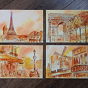 Картина оранжевый комплект Париж