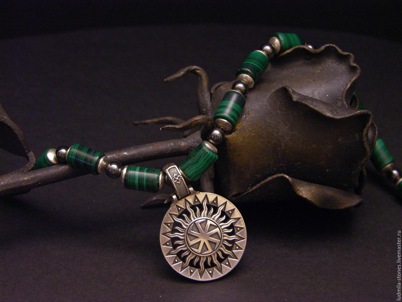 Men's choker from malachite 'Square of Svarog', Rosary bracelet, Moscow,  Фото №1