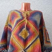 Одежда handmade. Livemaster - original item Poncho crocheted rainbow. Handmade.