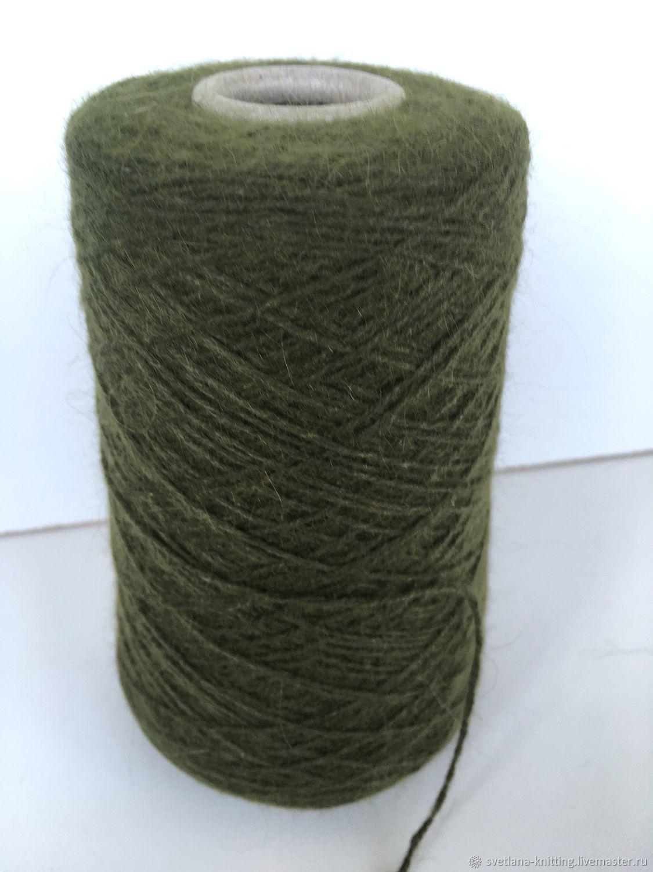 Пряжа ангора 70 темно-зеленая болотного цвета, Пряжа, Оренбург,  Фото №1