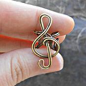 """Украшения ручной работы. Ярмарка Мастеров - ручная работа Кафф из латуни """"Мелодия"""" (подарок, серьги, музыка, скрипичный ключ). Handmade."""