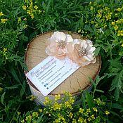 """Украшения ручной работы. Ярмарка Мастеров - ручная работа Заколки """"Сакура"""" в бежевом цвете. Handmade."""