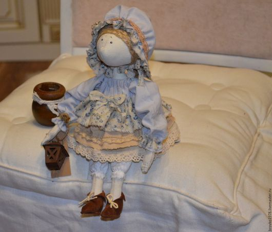 Куклы тыквоголовки ручной работы. Ярмарка Мастеров - ручная работа. Купить Марфушенька. Handmade. Голубой, тыквоголовка, лён