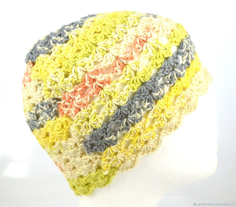 Вязаная ажурная шерстяная шапка