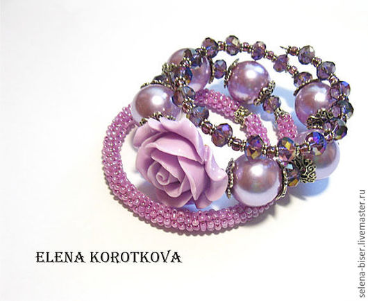 большой браслет  безразмерный браслет  купить фиолетовый браслет  сиреневый браслет  браслет недорогой  браслет ручной работы  авторский браслет  браслет с розой  браслет питер  браслет пышный