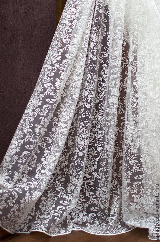 Текстиль, ковры ручной работы. Ярмарка Мастеров - ручная работа. Купить Тюль Дамаск 3 метра. Handmade. Белый, ткань