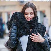 Аксессуары handmade. Livemaster - original item Black scarf with tassels. Handmade.