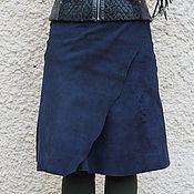 Одежда handmade. Livemaster - original item Skirt knee length suede Dark blue with a smooth edge. Handmade.