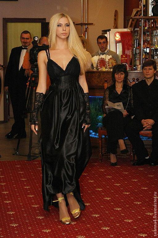 """Платья ручной работы. Ярмарка Мастеров - ручная работа. Купить Шелковое вечернее платье с открытой спинкой """"Роскошный Черный"""". Handmade."""