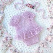 Боди ручной работы. Ярмарка Мастеров - ручная работа Боди  и повязка для фотосессии новорожденных Lilac. Handmade.