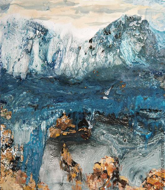 Пейзаж ручной работы. Ярмарка Мастеров - ручная работа. Купить Пейзаж с озером. Handmade. Синий, чайки, камни, картина, монотипия