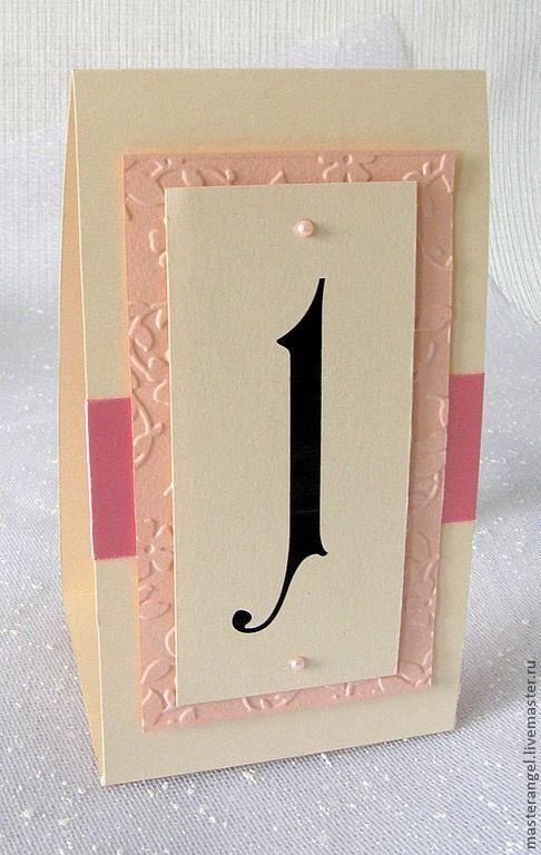 Свадебные аксессуары ручной работы. Ярмарка Мастеров - ручная работа. Купить Номера столов. Handmade. Бледно-розовый, номерки для стола
