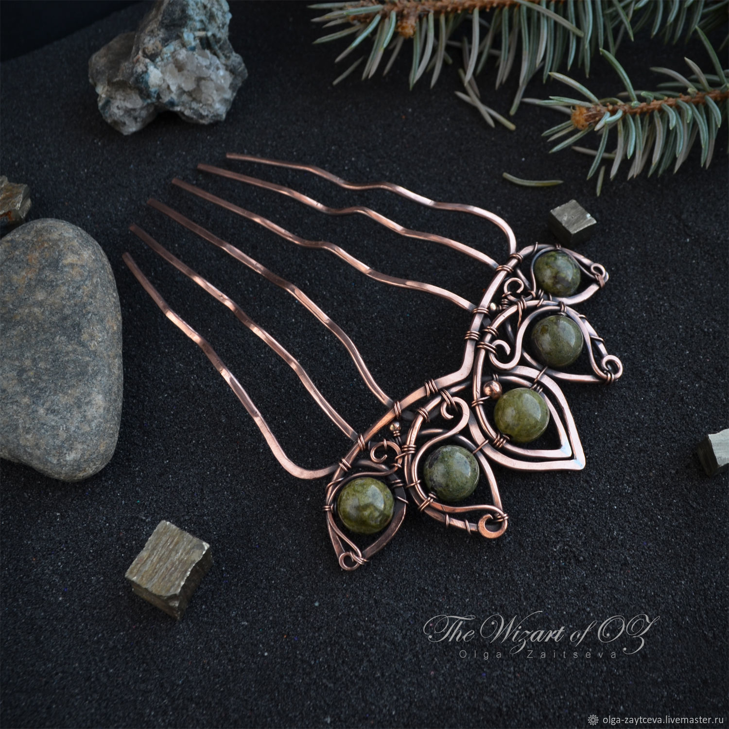 Hair combs, Jasper, copper comb hairpin hairclip – shop online on ...