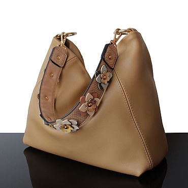 Bags and accessories handmade. Livemaster - original item Beige leather bag with decorative strap. Handmade.