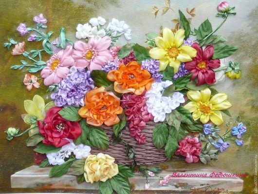 Картины цветов ручной работы. Ярмарка Мастеров - ручная работа. Купить Картина вышитая лентами  Цветы в корзине. Handmade. Комбинированный