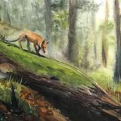 Картины и панно ручной работы. Ярмарка Мастеров - ручная работа Лиса в туманном лесу. Акварель. Handmade.