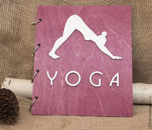 Блокноты ручной работы. Ярмарка Мастеров - ручная работа. Купить Деревянный Yoga блокнот. Handmade. Брусничный, морилка на водной основе