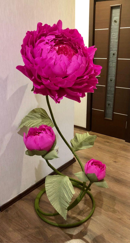 Ростовые цветы из гофрированной бумаги, композиция из пионов, Свадебные цветы, Москва, Фото №1