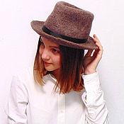 Аксессуары handmade. Livemaster - original item Brown Fedora hat