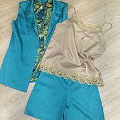 Одежда ручной работы. Ярмарка Мастеров - ручная работа Летний костюм шорты и жилетка/блузон. Handmade.