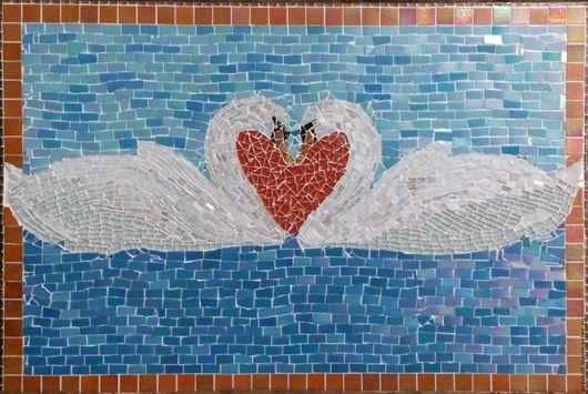 """Животные ручной работы. Ярмарка Мастеров - ручная работа. Купить Панно """"Влюблённые лебеди"""". Handmade. Комбинированный, уникальный подарок"""