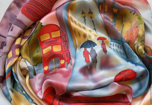 """Шарфы и шарфики ручной работы. Ярмарка Мастеров - ручная работа. Купить Шарф шелковый батик """"London"""". Handmade. Лондон"""