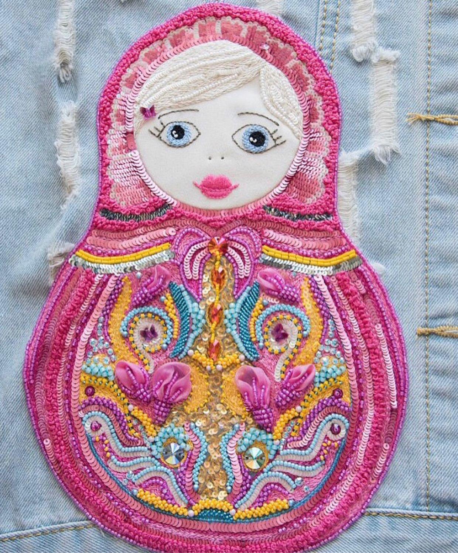 Аппликация Люневильская вышивка Розовая Матрешка 100 долларов, Аппликации, Минск,  Фото №1