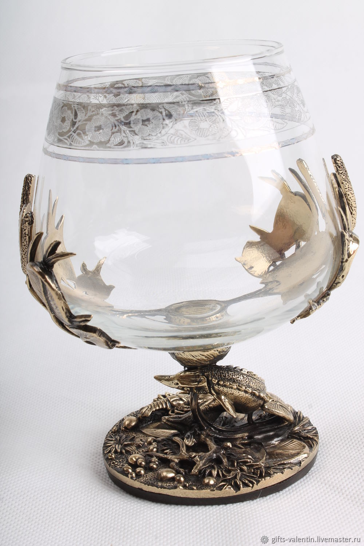 A glass of brandy 'a good catch' Sturgeon, Wine Glasses, Vacha,  Фото №1