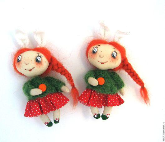 """Коллекционные куклы ручной работы. Ярмарка Мастеров - ручная работа. Купить Брошки """"Апельсин"""". Handmade. Комбинированный, апельсин, Новый Год"""
