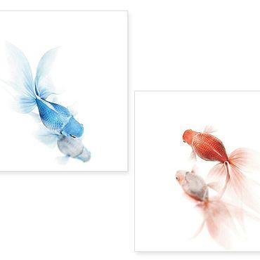 """Картины и панно ручной работы. Ярмарка Мастеров - ручная работа Модульная картина """"Рыбы"""". Handmade."""