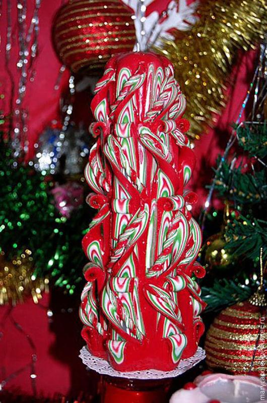 Свечи ручной работы. Ярмарка Мастеров - ручная работа. Купить Резная свеча на Новый год. Handmade. Разноцветный, подарки ручной работы