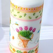 Свечи ручной работы. Ярмарка Мастеров - ручная работа Подарки на 8 марта Свечи ручной работы с тюльпанами. Handmade.