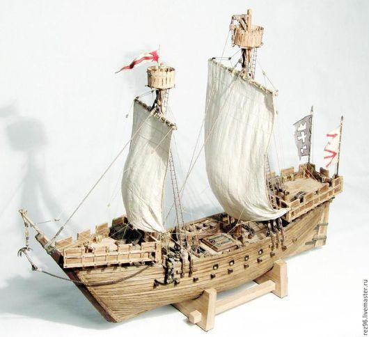 Миниатюрные модели ручной работы. Ярмарка Мастеров - ручная работа. Купить Двухмачтовый Ганзейский Когг. Handmade. Модель корабля, Дуб