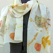 """Аксессуары ручной работы. Ярмарка Мастеров - ручная работа Шелковый шарф """"Солнце"""", эко принт. Handmade."""