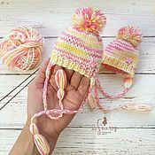 Clothes for dolls handmade. Livemaster - original item Hat for a doll. pink and yellow.