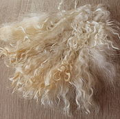 Материалы для творчества handmade. Livemaster - original item The skin of the goat # 21 (hair for dolls, white) Curls Curls for dolls. Handmade.