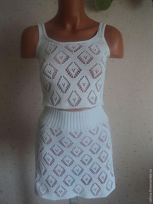 Пляжные платья ручной работы. Ярмарка Мастеров - ручная работа. Купить комплект для лета. Handmade. Белый, комплект, юбка вязаная