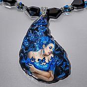Украшения handmade. Livemaster - original item Pendant with lacquer miniature Blue butterfly. Handmade.