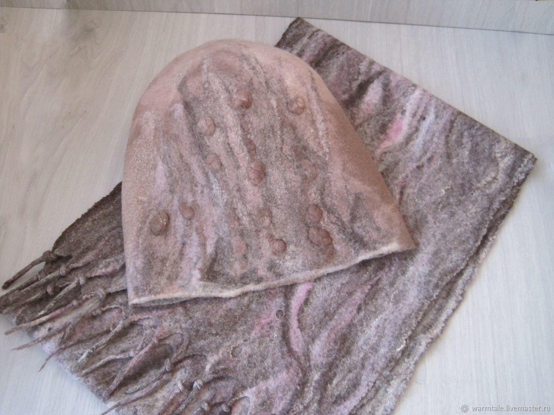 Комплект шапка и шарф, шарф паутинка валяный шапка бини валяная, Шапки, Хмельницкий,  Фото №1