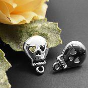 Материалы для творчества handmade. Livemaster - original item Studs for earrings, art. 3-18 with an eyelet Skull, brass. Handmade.