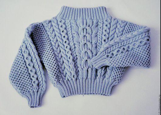 Кофты и свитера ручной работы. Ярмарка Мастеров - ручная работа. Купить Свитер с косами Ruban нежно-голубой. Handmade. Голубой