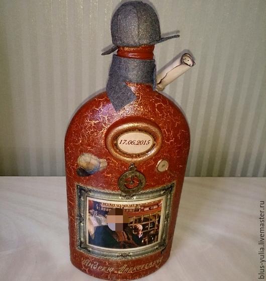 Подарочное оформление бутылок ручной работы. Ярмарка Мастеров - ручная работа. Купить бутылка Джентельмену. Handmade. Бордовый, оригинальный подарок