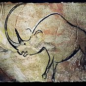 Картины и панно handmade. Livemaster - original item Rhino.The Cave Of Lascaux. Handmade.