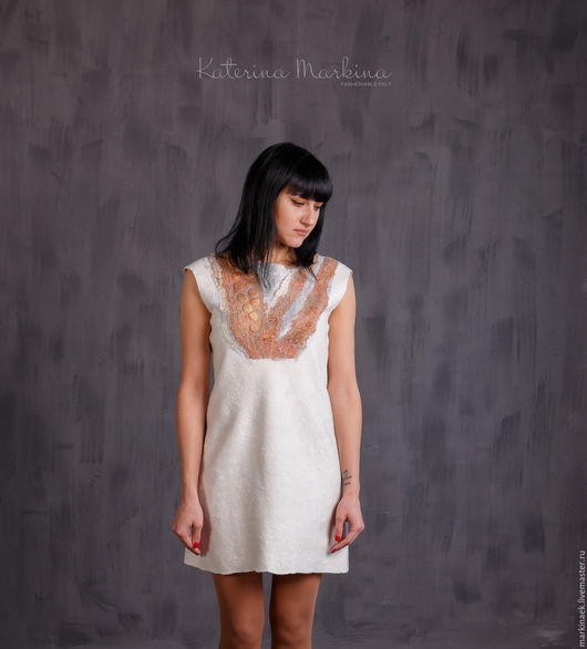 Платья ручной работы. Ярмарка Мастеров - ручная работа. Купить Белое валяное платье с принтом. Handmade. Белый, платье валяное