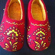 """Обувь ручной работы. Ярмарка Мастеров - ручная работа Тапочки """"Хохлома"""". Handmade."""