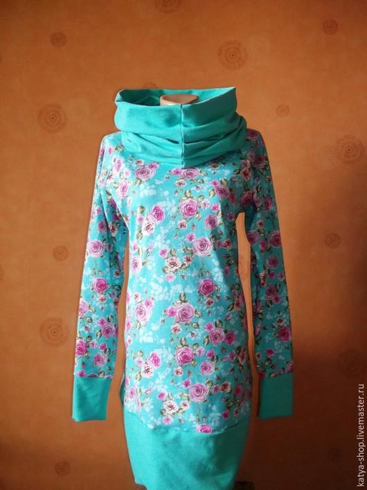Кофты и свитера ручной работы. Ярмарка Мастеров - ручная работа. Купить Толстовка-платье трикотажная мятная с капюшоном. Handmade.