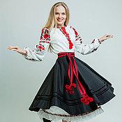"""Одежда ручной работы. Ярмарка Мастеров - ручная работа Юбка черная """"Рута"""" с вышивкой. Handmade."""