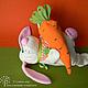 Игрушки животные, ручной работы. Зайка с морковкой. Александра Моисеева. Интернет-магазин Ярмарка Мастеров. Заяц текстильный, зайчик, флис