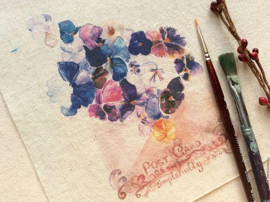 """Шитье ручной работы. Ярмарка Мастеров - ручная работа. Купить Купон лен """"Письмо с фиалками"""". Handmade. Лён натуральный, цветы"""